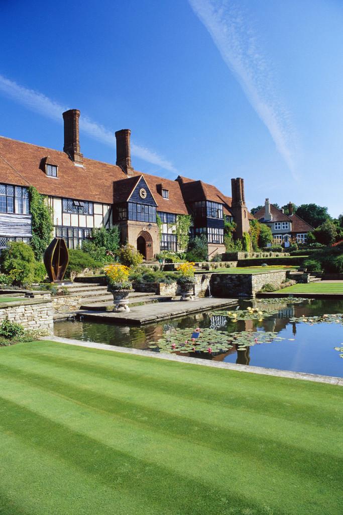 Pond and Tudor Mansion
